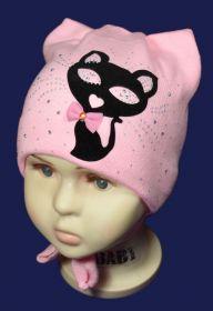 вд1211-36 Шапка вязаная Багирка завязки ушки стразы нежно-розовая