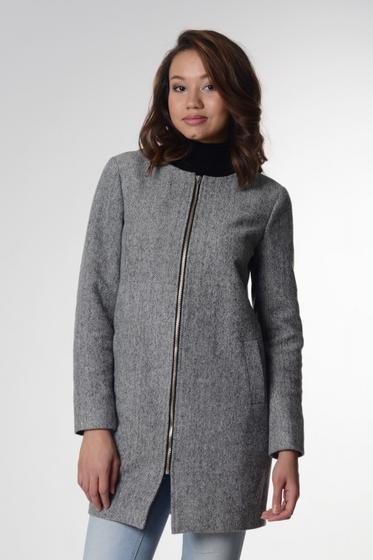 Пальто 63414 серый