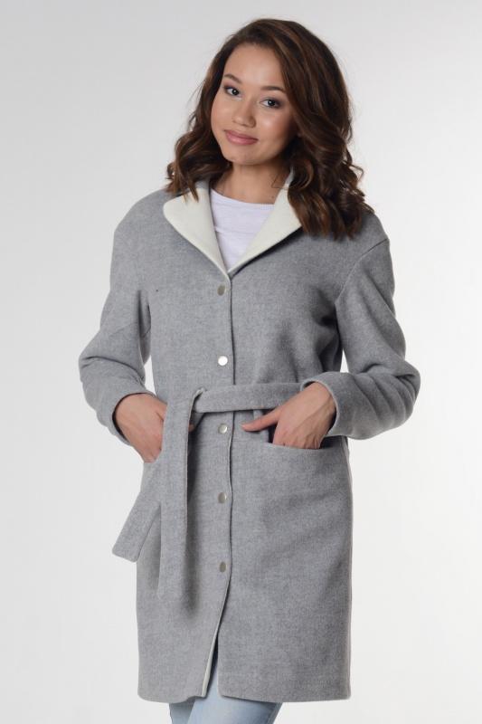 Пальто 63413 серый