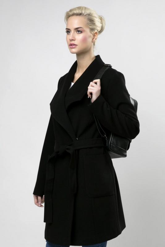 Пальто драповоеи 63365 черный