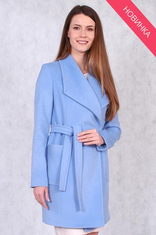Пальто драповоеи 63365 голубой