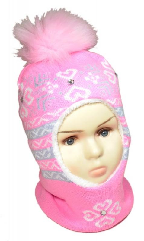 зд1053-4749 Шлем с эко-помпоном сердечки стразы розовый со светло-серым