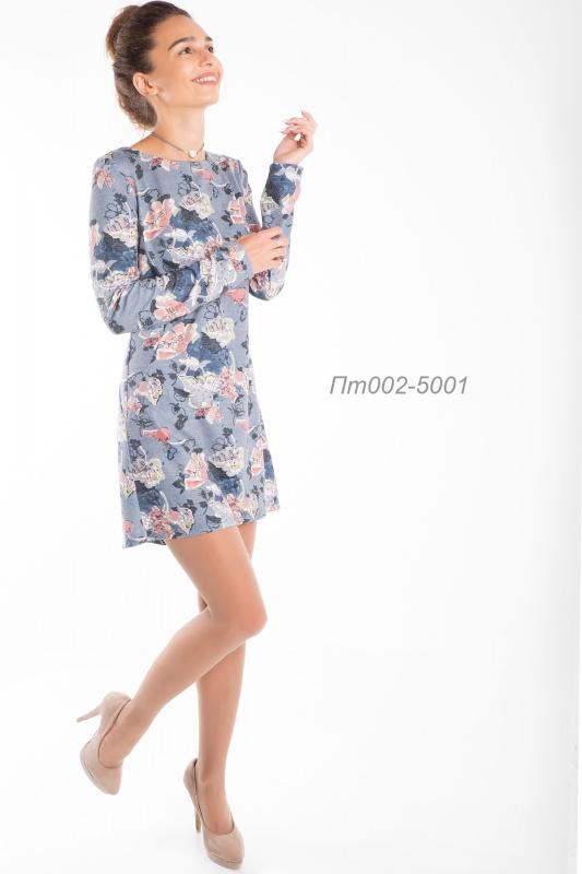 Платье-туника 002-1 тр-ж Пике серо-терракотов Вероника