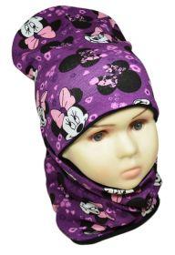 вд1204-61 Комплект шапка удлиненная/снуд Мышка фиолетовый