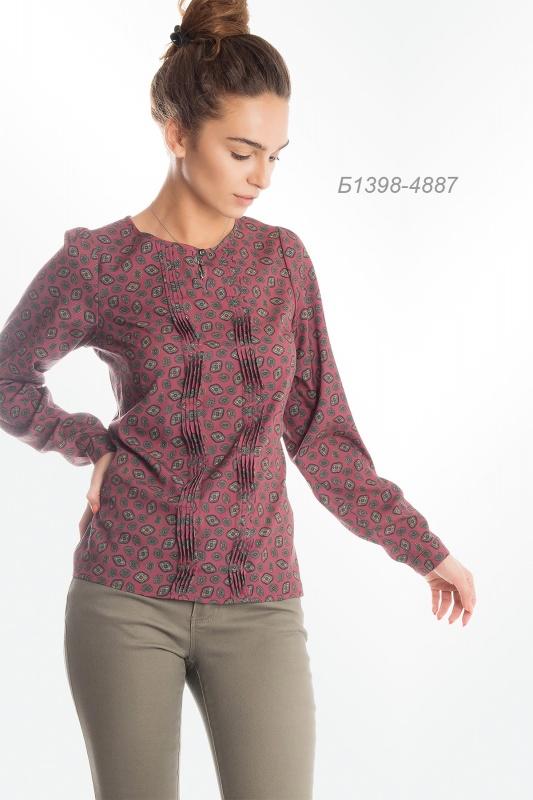 Блузка 1398 креп-шифон коричневый Ярмарка