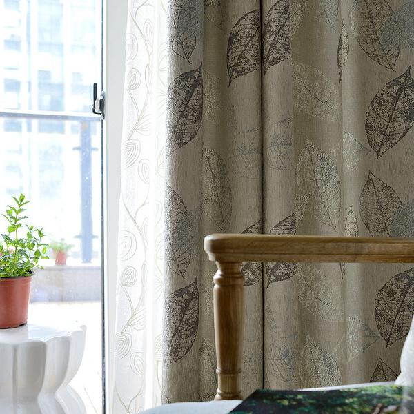 шторы с листочками на люверсах