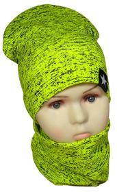вд1188-39 Комплект шапка удлиненная/снуд меланж неоново-лимонный