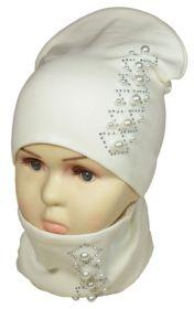 вд1187-32 Комплект шапка удлиненная/снуд бусины стразы молочный