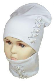 вд1187-03 Комплект шапка удлиненная/снуд бусины стразы белый