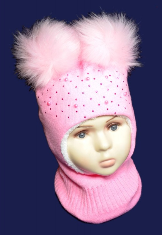 зд1054-47 Шлем с двумя эко-помпонами сердечки стразы бусины розовый