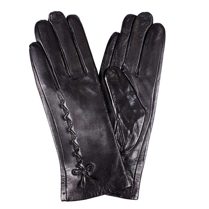 ES-L 2649 Перчатки Жен, нат/к (овч) , черный, п/ш 181564