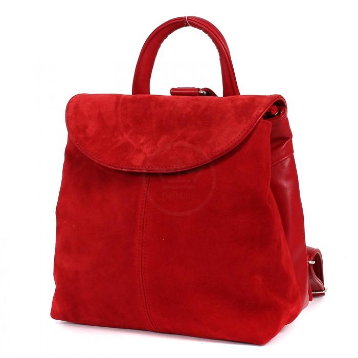 Сумка жен иск/кожа+нат/замша GR-1397 (рюкзак) , 2отд, 1внут карм+1внеш карм, красный 199780