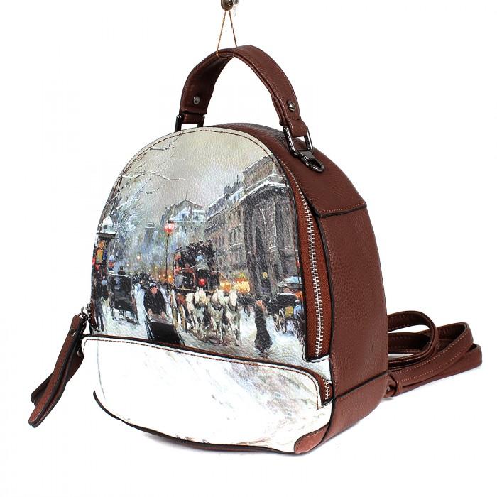 Сумка жен иск/кожа BT-L 0655 (рюкзак-мини) , 1отд, 1внут+1внеш карм, коричневый 199643