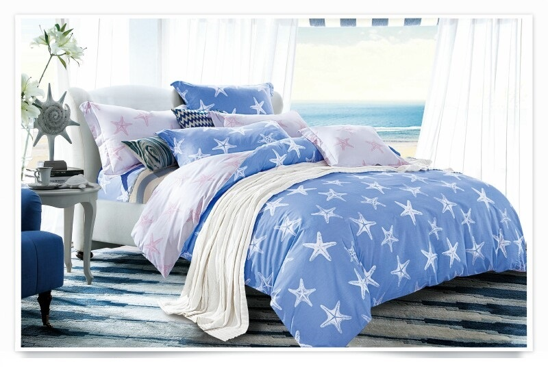 """Артикул: 645. Комплект постельного белья (КПБ) из сатина \""""Морские звезды\"""""""