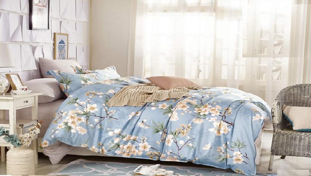 """Артикул: 659. Комплект постельного белья (КПБ) из сатина \""""Яблони в цвету\"""""""
