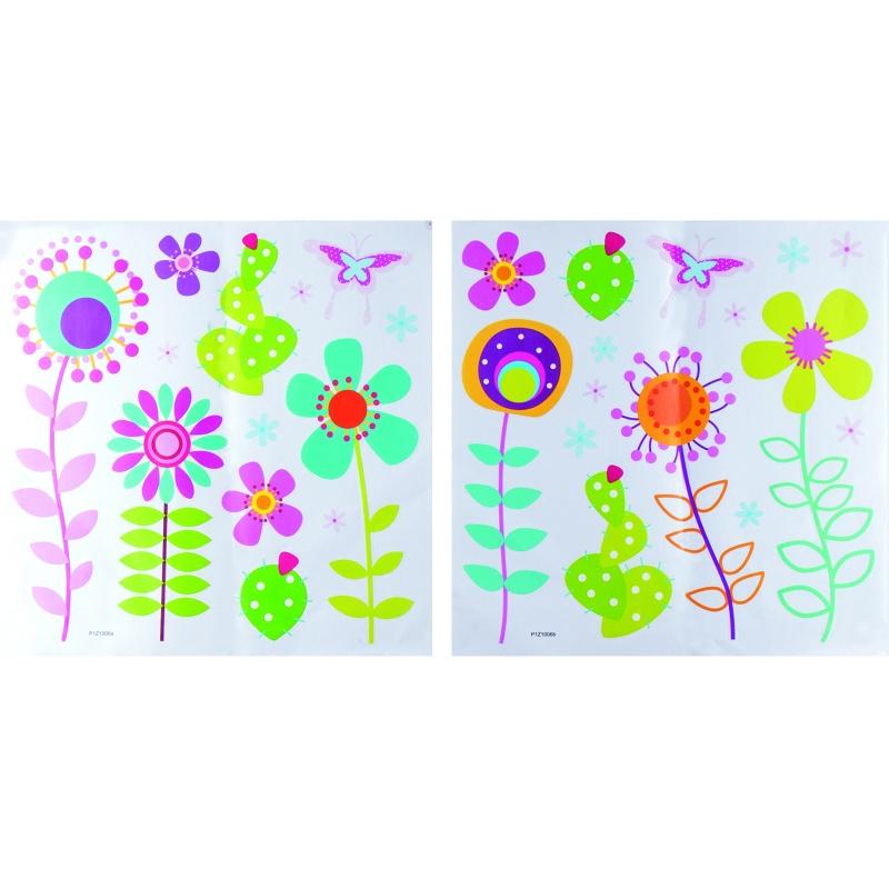"""Стикер PIZ1006 \""""Нарисованные цветы\"""", 2 листа 40*40 см статический"""