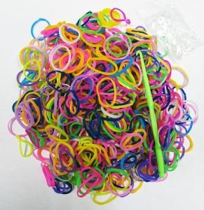 Набор резиночек Цветные Яркие Глянцевые для плетения Loom Bands 600 шт