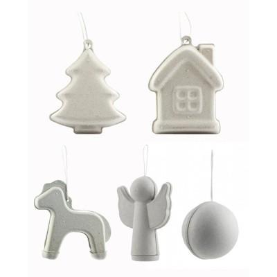 Набор из 5 штук новогодних заготовок игрушек: шар, лошадка, ангел, елочка, домик