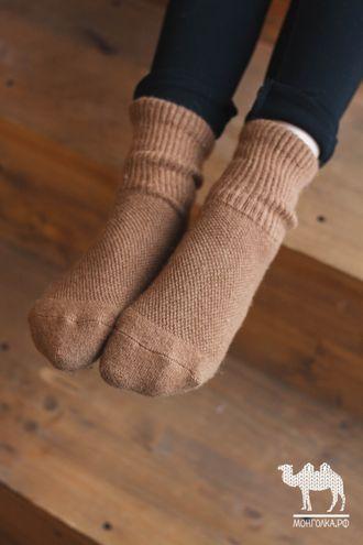 Носки детские из верблюжьей шерсти коричневые