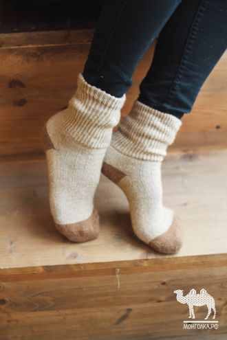 Носки детские из верблюжьей шерсти бежевые