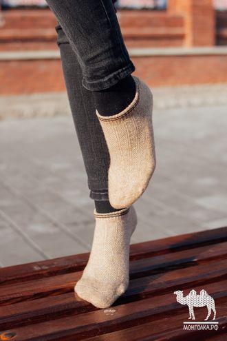 Носки спортивные из верблюжьей шерсти бежевые