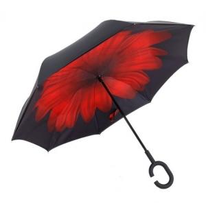 Зонт-наоборот антизонт с кнопкой Красный цветок