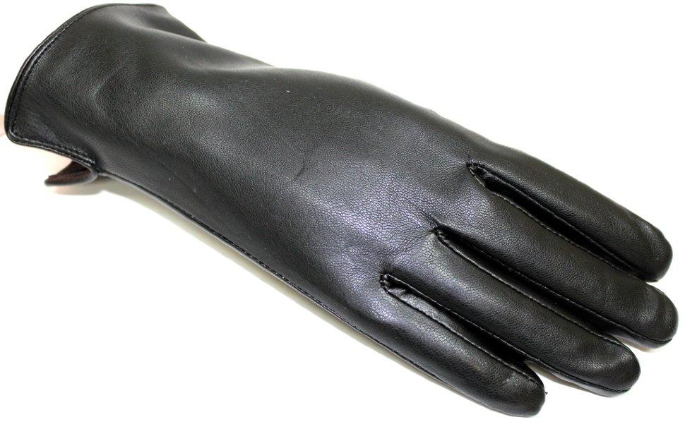 136420 Перчатки женские эко-кожа . Арт 27. Цвет черный.