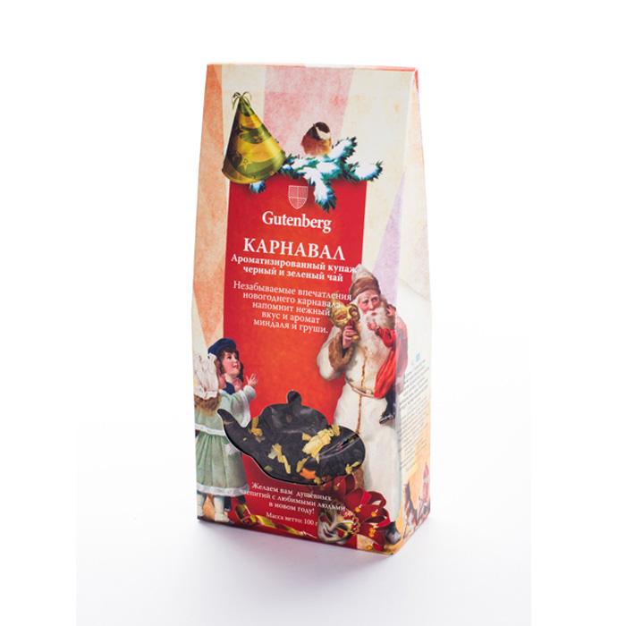 """36005-101 Чай Gutenberg ароматизированный зеленый с черным \""""Карнавал\"""", 100 г"""