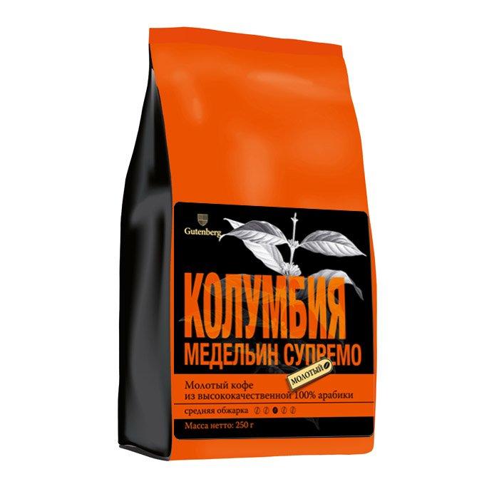 1120-250 Кофе в зернах Колумбия Медельин Супремо 250 г