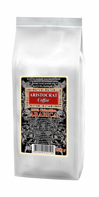 «100% Сolombian Arabica» Кофе натуральный растворимый сублимированный 500 г