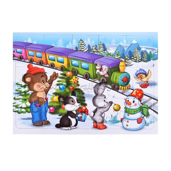 """Пазлы в рамке 15 \""""Новогодний поезд\"""""""