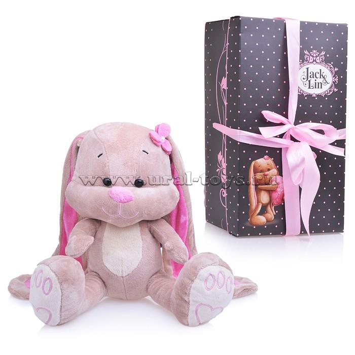 Зайка Лин с Цветочком на Голове, 25 см, в коробке