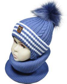 зм1041-52 Комплект шапка-манишка резинка косы сизый