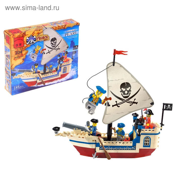 """Конструктор Пираты \""""Пиратский корабль\"""", 188 деталей"""