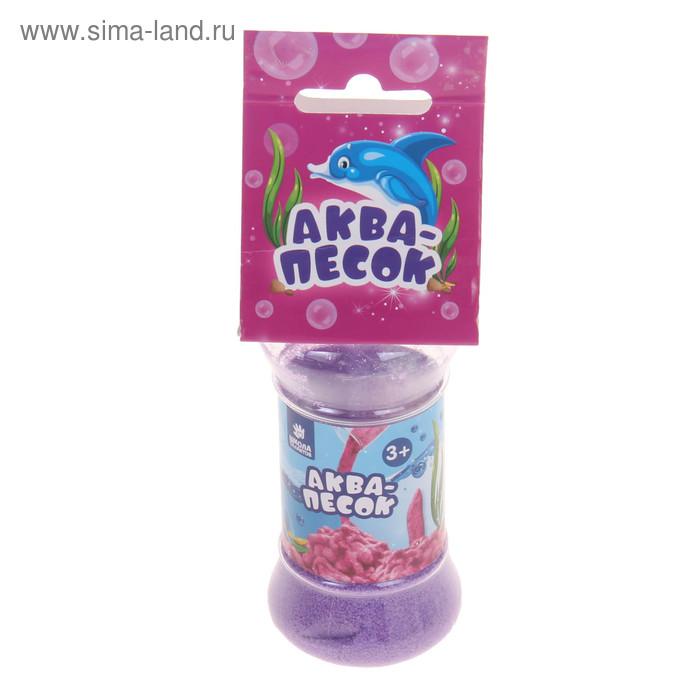 """Аквапесок в банке \""""Морские животные\"""" с раст. игрушками, песок фиолетовый 65 гр,гидрогель"""