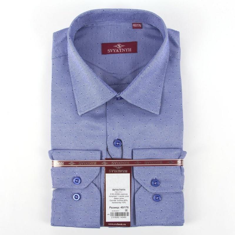 2.02-22084 сорочка полуприт т.синяя узор средн длин
