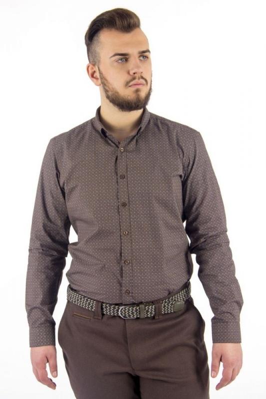 сорочка притал коричн узор средн длин