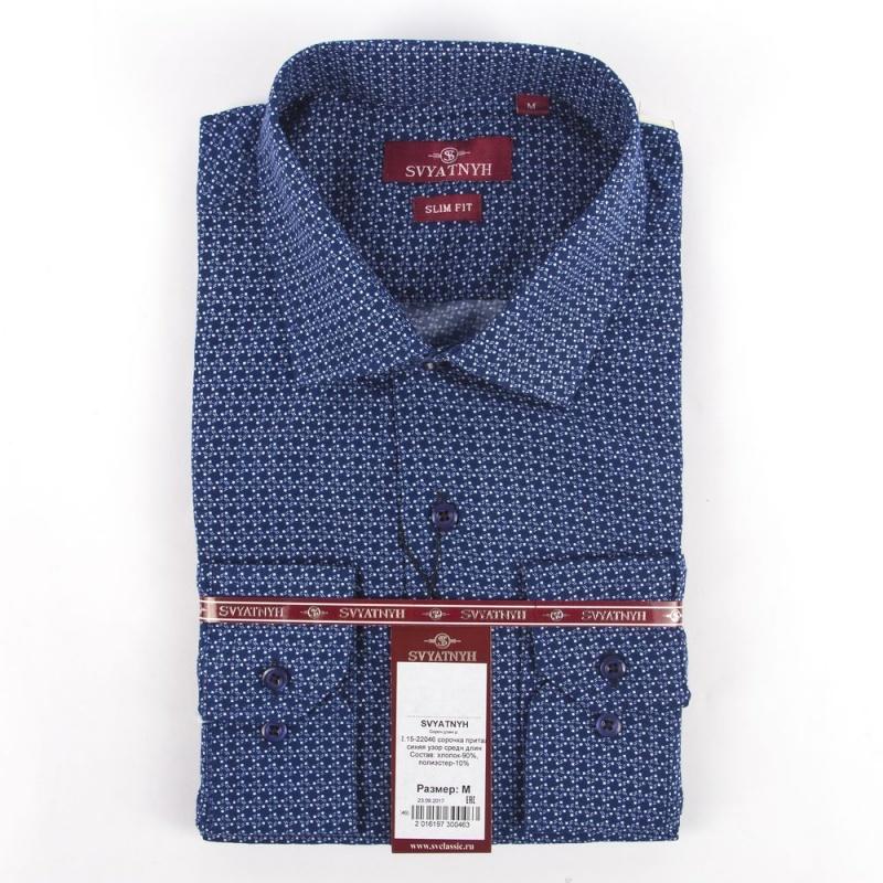 сорочка притал синяя узор средн длин