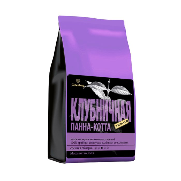1167-250 Кофе в зернах ароматизированный Клубничная Панна-котта 250 г
