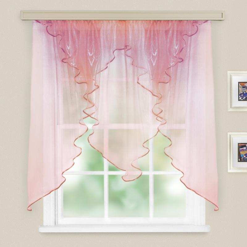Комплект штор для кухни Трио хамелеон розово-синий