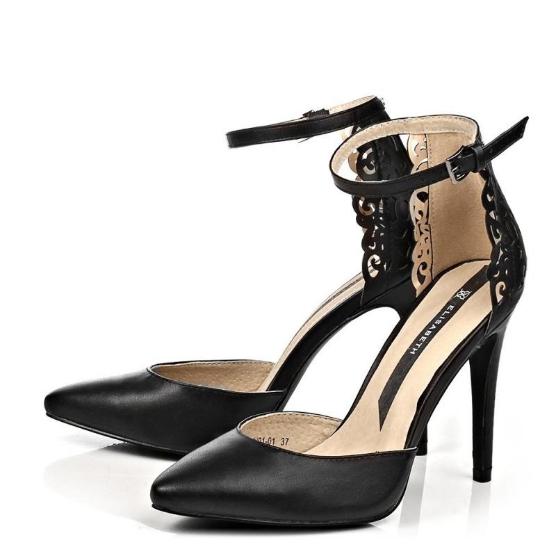 Женские черные туфли с ремешком J&Elisabeth
