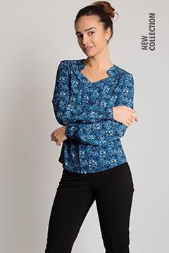 Блузка 1355 креп-шифон сине-голубой Пейсли