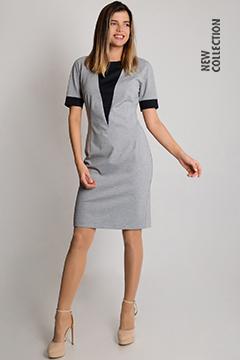 Платье 569 тр-ж костюмный сер Меланж/ тр-ж черный