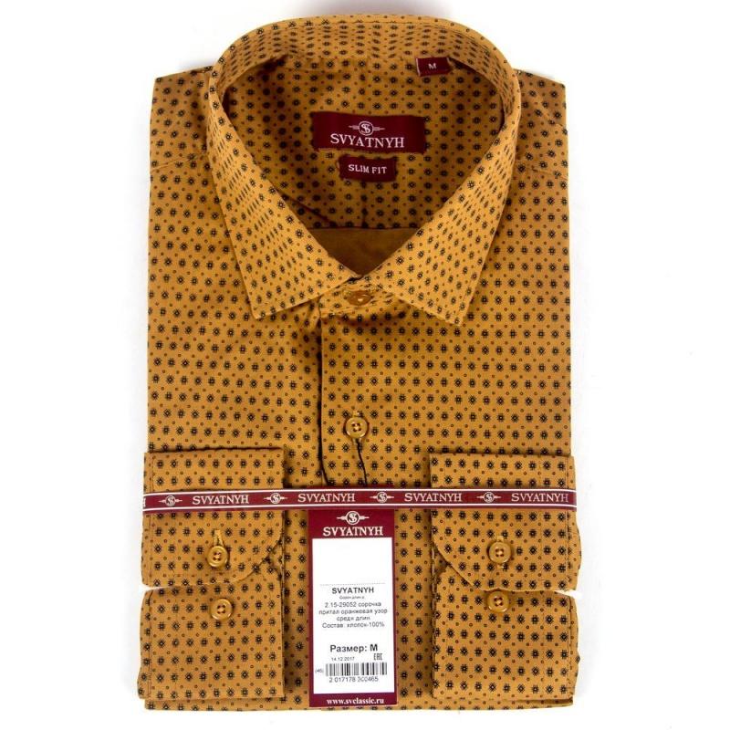 сорочка притал оранжевая узор средн длин