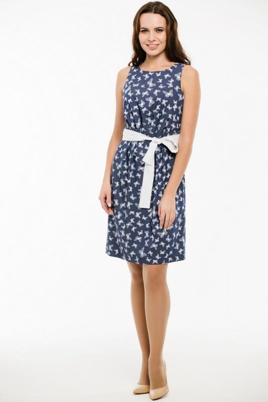 Платье с поясом 7448