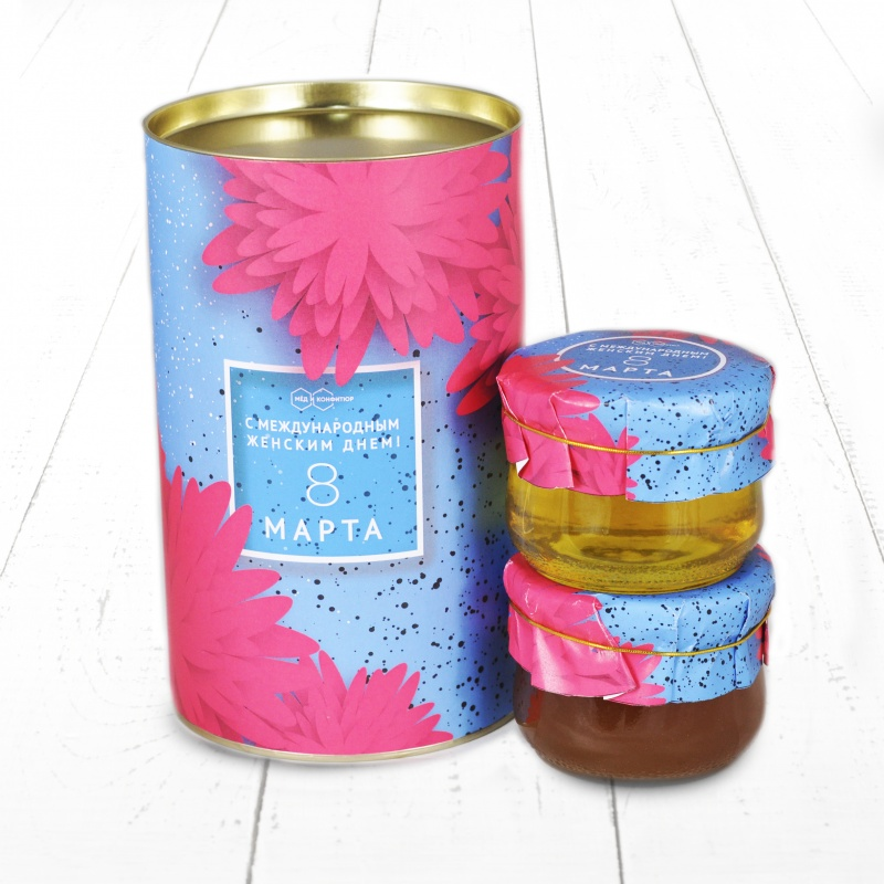 """Подарочный Набор \""""Тубус 8 Марта С международным женским днем Астра липовый и дягилевый мёд\"""""""