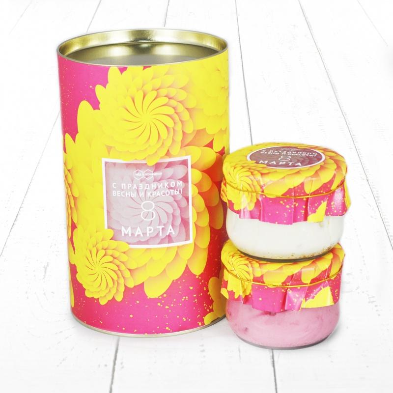 """Подарочный Набор """"Тубус 8 Марта С праздником весны и красоты с малиной и с кедровым орехом мёд"""""""