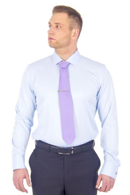 2.19-3031 сорочка притал запон стрейч голубая диагональ длин