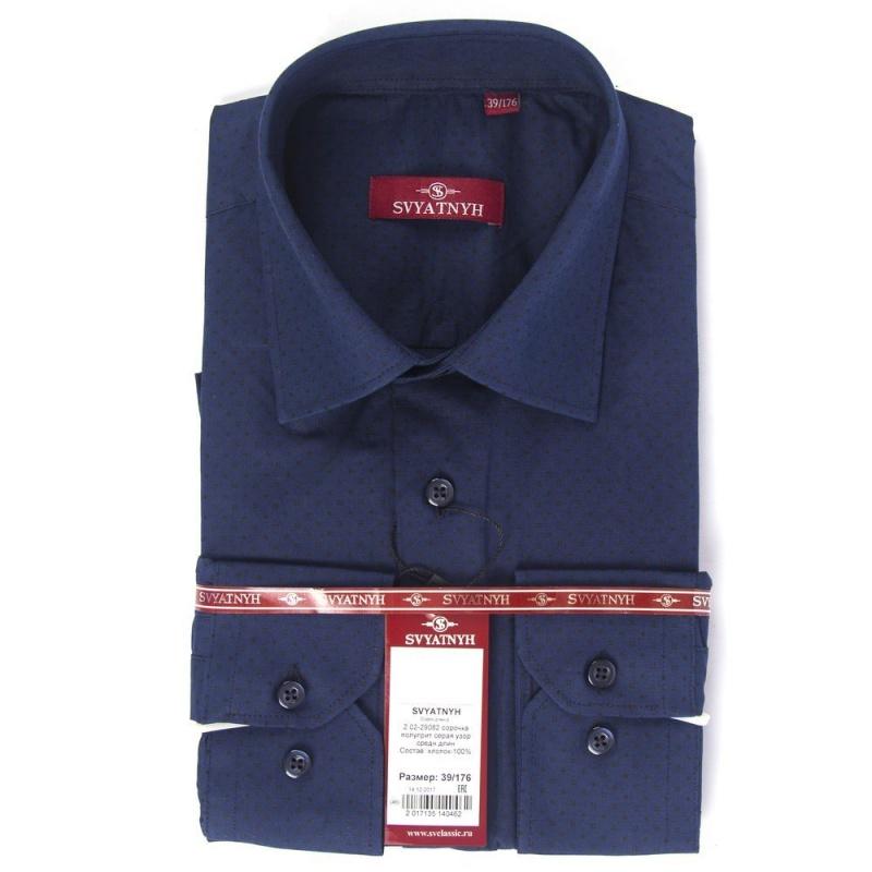 2.02-29082 сорочка полуприт т.синяя узор средн длин