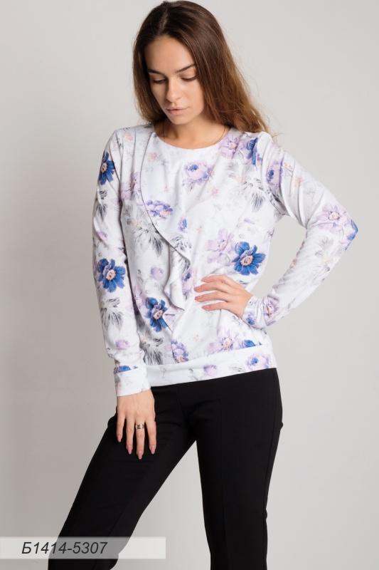Блузка 1414 тр-ж фисташково-лиловый Пионы